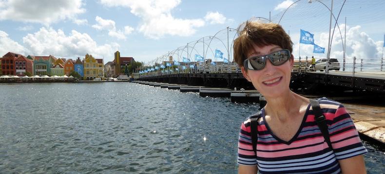 Rickee in front of pontoon bridge