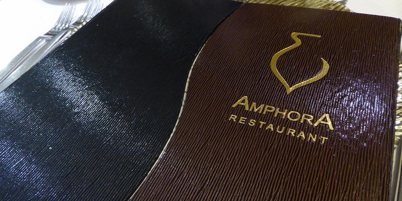 The menu at Amphora restaurant