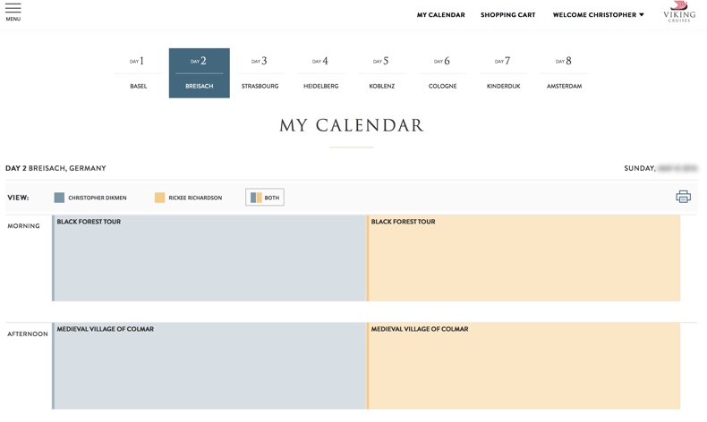 Calendar shows all pre-booked excursions