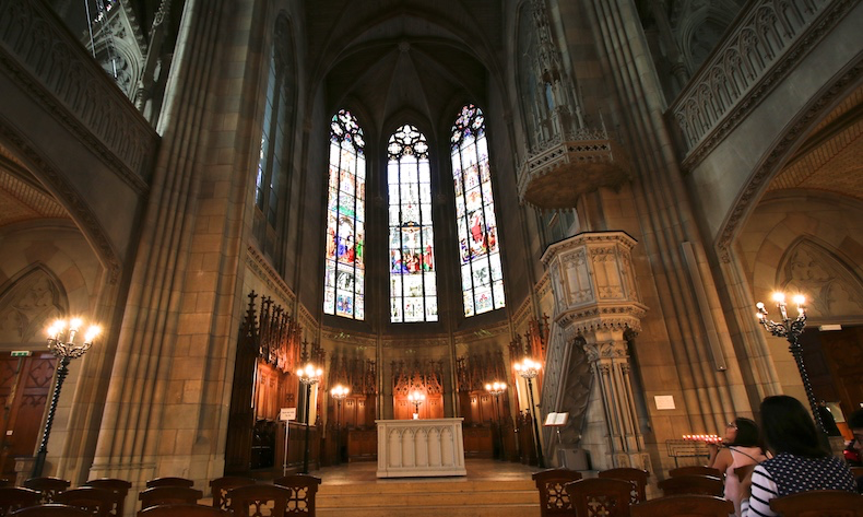 Stained glass windows are impressive