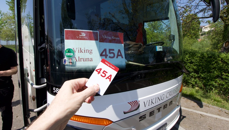 Tour ID cards match motorcoach signs