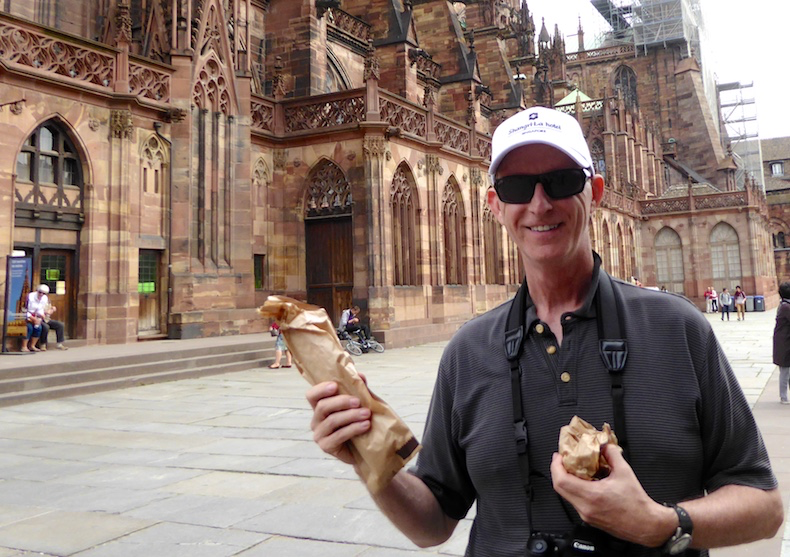Enjoying a baguette in Strasbourg