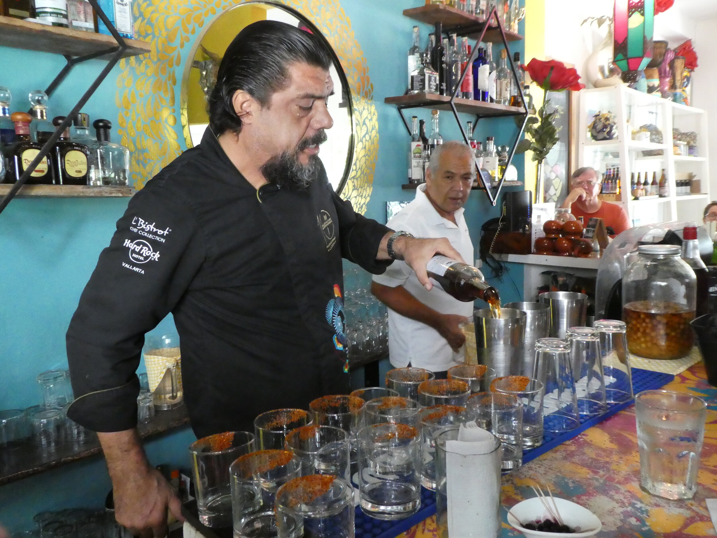 Mixing a Raicilla Cocktail in Puerto Vallarta.