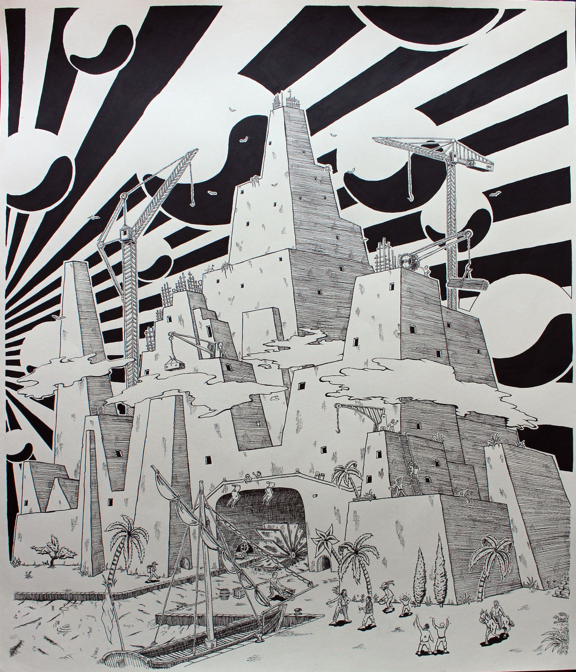 Babel Tower - Ink on paper -