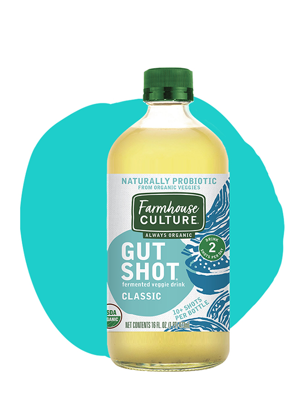 Classic - Our Classic Gut Shot is made from organic cabbage, sea salt, and earthy caraway seeds. We transform those simple ingredients though wild fermentation into a tangy and refreshing shot of probiotic goodness.Made from our expertly crafted sauerkraut juice, it's always organic, unpasteurized, and is alive with multiple strains of probiotics.INGREDIENTS: cabbage*, water, distilled vinegar*, sea salt, caraway*. *Organic