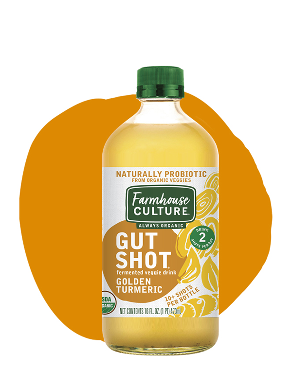 Golden Turmeric - Lovers of this peppery spice will want to make our Golden Turmeric Gut Shot part of their diet. Your gut will benefit from these naturally probiotic shots made from fermented organic cabbage with turmeric spice.Made from our expertly crafted sauerkraut juice, it's always organic, unpasteurized, and is alive with multiple strains of probiotics.INGREDIENTS: cabbage*, water, sea salt, distilled vinegar*, Golden Turmeric Spice Blend* (cumin*, turmeric*, coriander*, fenugreek*, ginger*, garlic*, cayenne pepper*, white pepper*, clove*, mace*), turmeric extract. *Organic