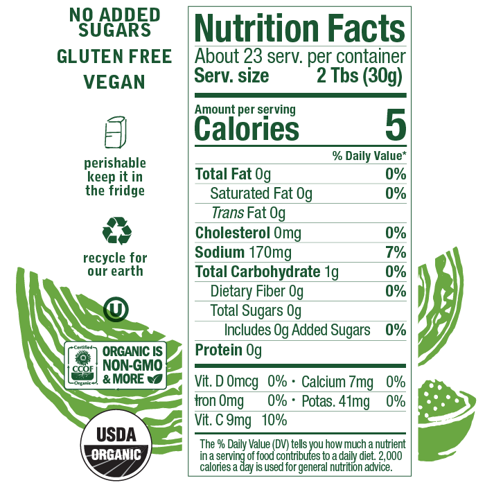 Nutrition facts for Farmhouse Culture Old Fashioned Sauerkraut