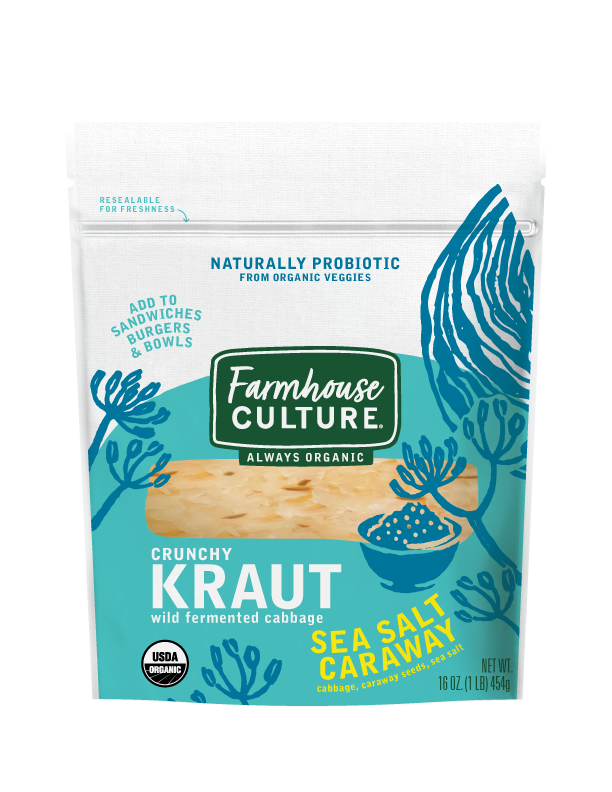 Sea Salt Caraway Kraut - Our Sea Salt Caraway Kraut is our founder's version of traditional, Bavarian sauerkraut. We add caraway seeds for a mild, yet full flavor experience. It's deliciously crunchy and happens to be healthy too. It's everything you're looking for in a tangy condiment or addition to your bowl or sandwich.Our sauerkraut is always organic, unpasteurized, and is alive with multiple strains of probiotics.INGREDIENTS: CABBAGE*, Water, Sea Salt, caraway*. *ORGANIC