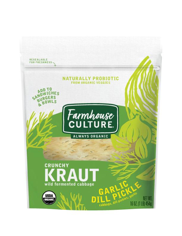Garlic Dill Pickle Kraut - This crunchy kraut is our take on classic dill pickles. But, unlike most pickles, it's brimming with live cultures that are good for your gut. Use it to top burgers or sandwiches. It's also a great veggie side or snack you can eat right out of the bag.Our sauerkraut is always organic, unpasteurized, and is alive with multiple strains of probiotics.INGREDIENTS: cabbage*, pickles* (cucumbers*, water, distilled vinegar*, salt, calcium chloride), water, distilled vinegar*, sea salt, garlic*, coriander*, cinnamon*, allspice*, dill*, ginger*, chili pepper*. *ORGANIC
