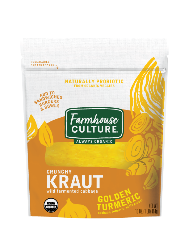 Golden Turmeric Kraut - Looking for a little extra zing? Try our Golden Turmeric Kraut. It will brighten any dish with its peppery flavor while always providing probiotic goodness for your tummy. Add this Southeast Asian-inspired condiment to your meals for complex flavor and crunch.Our sauerkraut is always organic, unpasteurized, and is alive with multiple strains of probiotics.INGREDIENTS: cabbage*, water, sea salt, Golden Turmeric Spice Blend* (cumin*, turmeric*, coriander*, black pepper*, fenugreek*, ginger*, garlic*, cayenne pepper*, white pepper*, clove*, mace*). *ORGANIC
