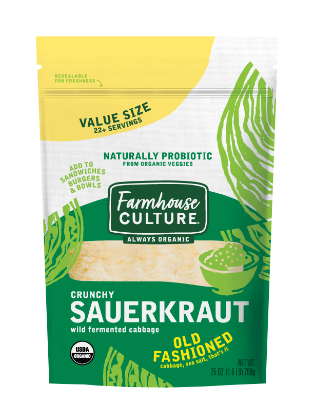 Old Fashioned Sauerkraut - Our Old Fashioned Kraut is an ode to simple homestyle German sauerkraut. We let each batch of organic cabbage and sea salt ferment until it's bursting with flavor and brimming with live cultures.Our sauerkraut is always organic, unpasteurized, and is alive with multiple strains of probiotics.INGREDIENTS: cabbage*, water, sea salt. *ORGANIC