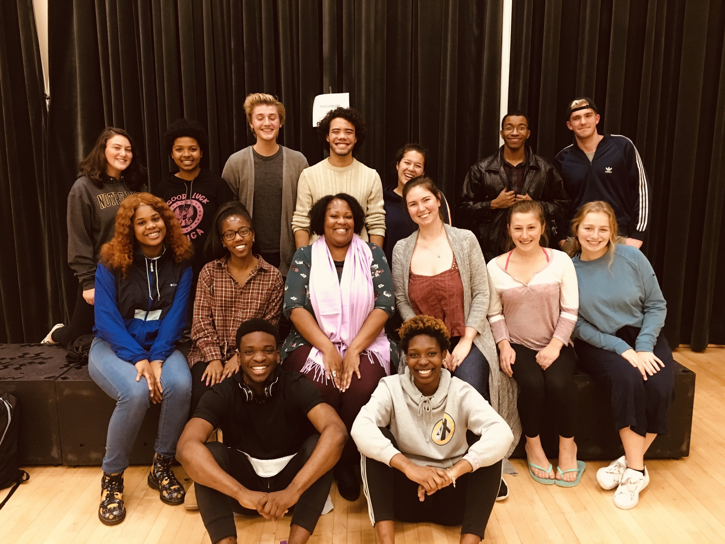 Workshop Leader Jacqueline Lawton and Co-Director Ruthie Allen with the Cast of the 2019 MTM Production