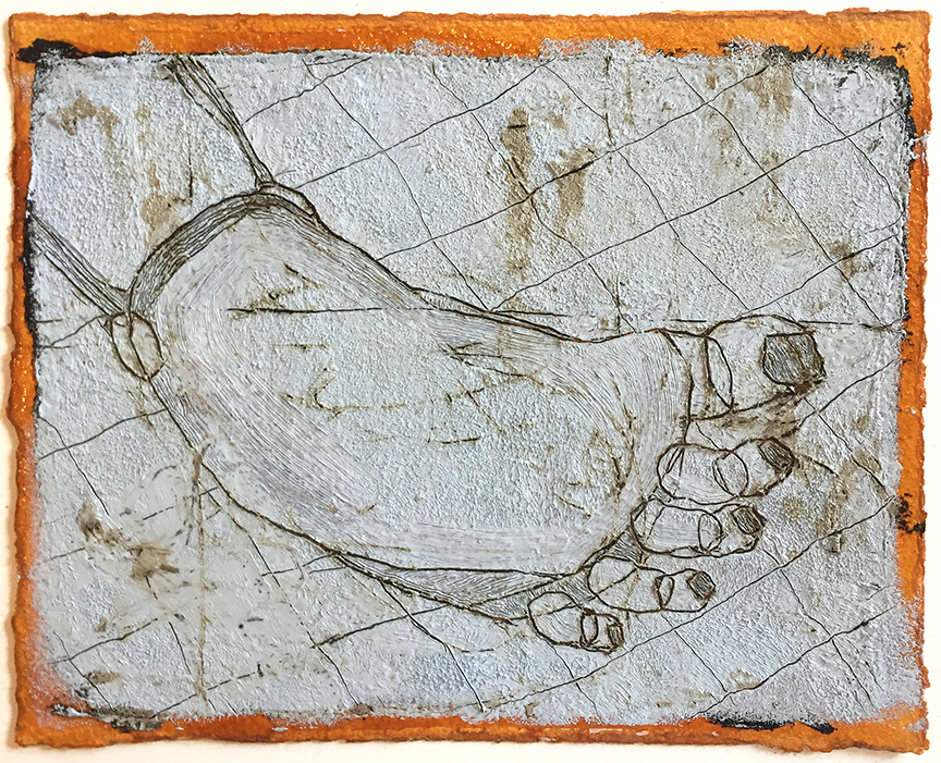 """Georgia's Foot , 9 x 7"""", tar and oil on shellacked paper, 2018"""