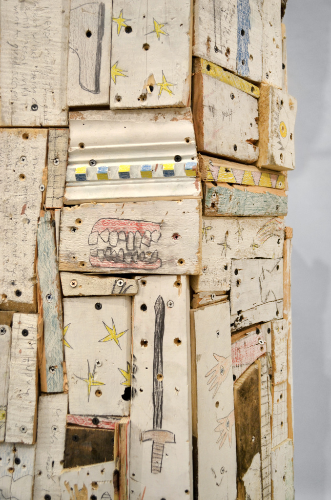 "Bust of a Bust , 81 x 22 x 20"", reclaimed wood, hardware, polymer gypsum, animal bones, pencil, acrylic, oil, 2013"