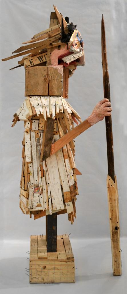 "Hero , 86 x 32 x 37"", reclaimed wood, hardware, polymer gypsum, animal bones, pencil, acrylic, oil, 2013"