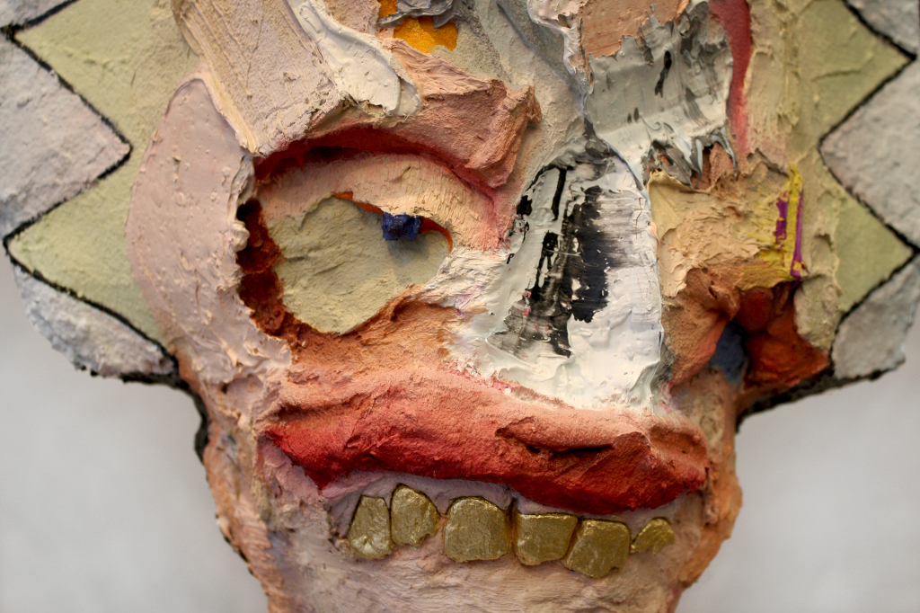 "Studio Chief , 80 x 17.5 x 8"", reclaimed wood, concrete, hardware, polymer gypsum, yarn, acrylic, oil, 2013"