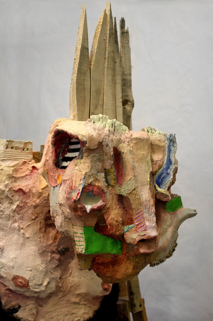 "Wanderer , 84 x 29 x 32"", reclaimed wood, hardware, polymer gypsum, found objects, animal bones, animal hide, acrylic, oil, 2013"