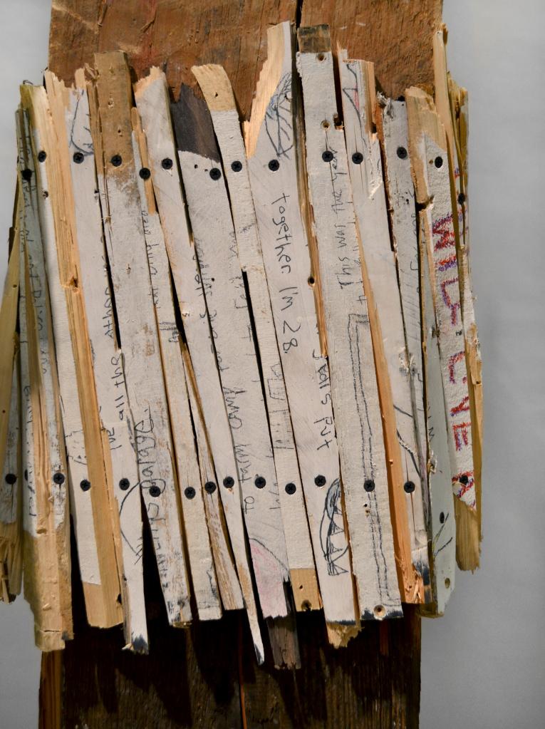 "Preacher Man , 86 x 34 x53"", reclaimed wood, hardware, polymer gypsum, animal bones, pencil, acrylic, oil, 2013"