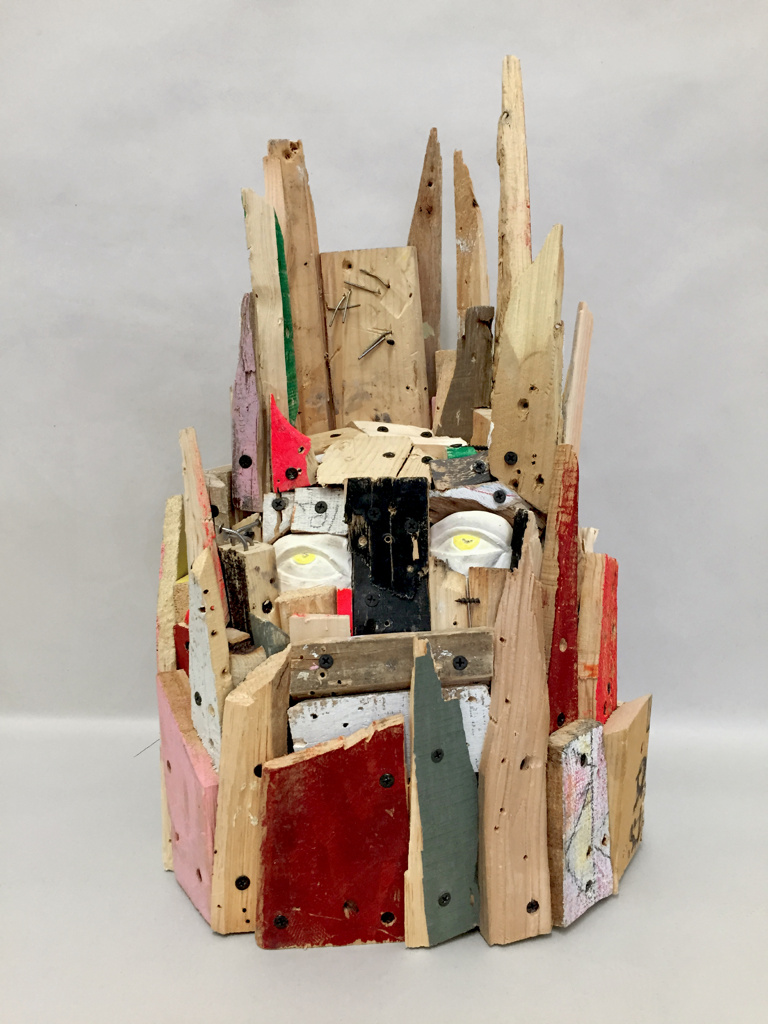 "Babel Head , 21 x 13.5 x 11"", reclaimed wood, plaster, hardware, paint, 2015"