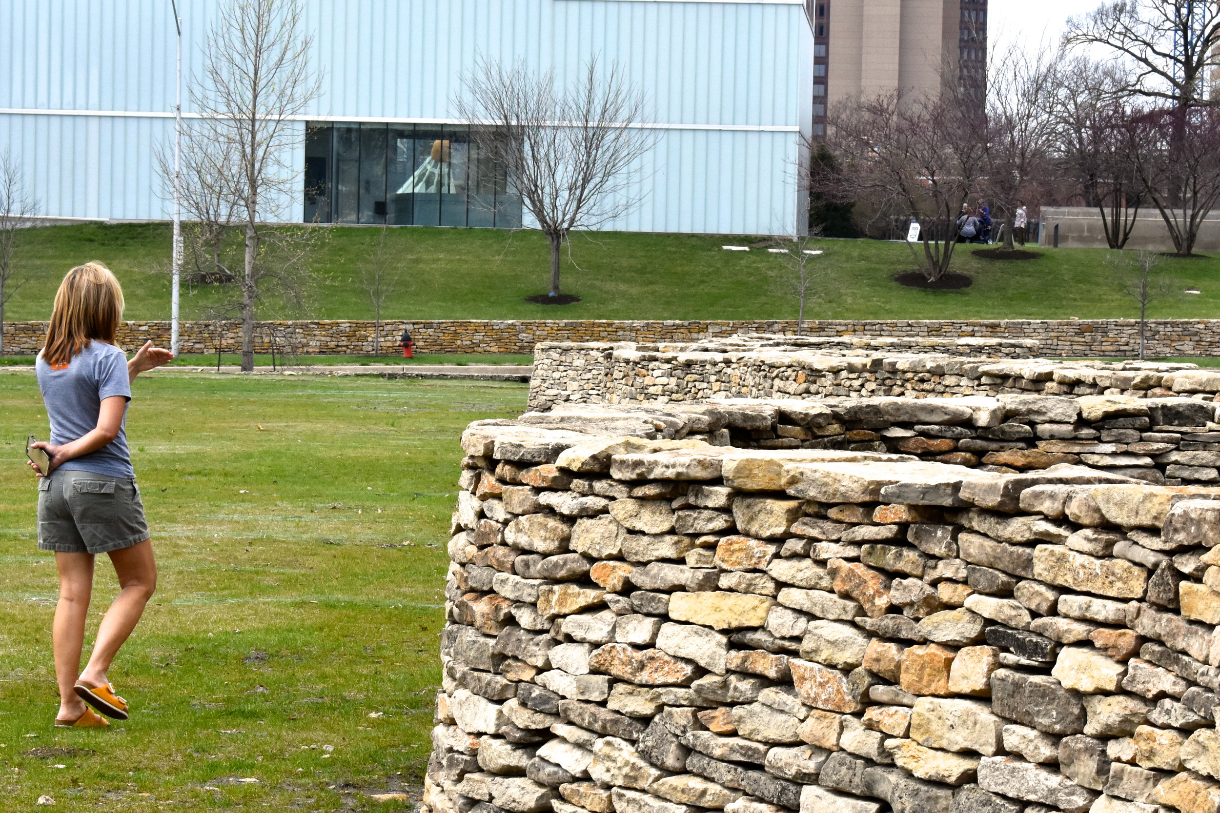 A visitor at Andy Goldsworthy's Walking Wall (first stage) [4.19. Photo:AG]