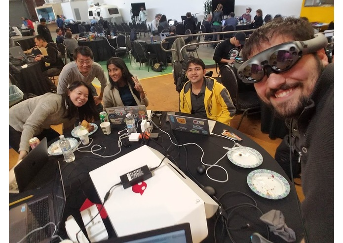 Our Magic Leap Hack team testing our initial theory.