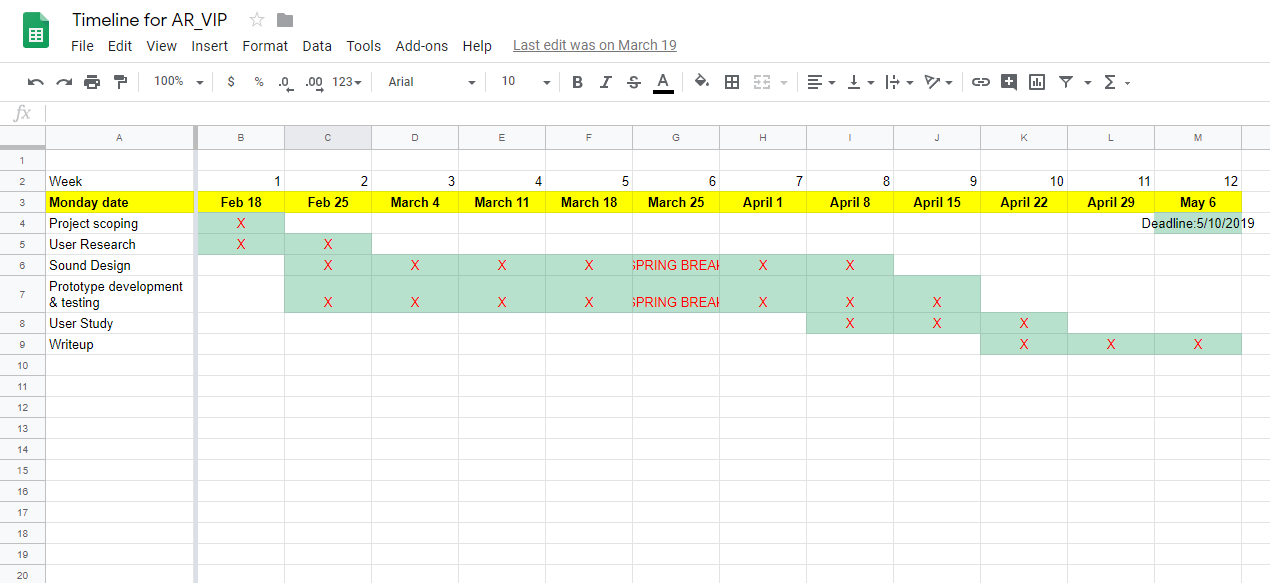 Timeline via Google Sheets