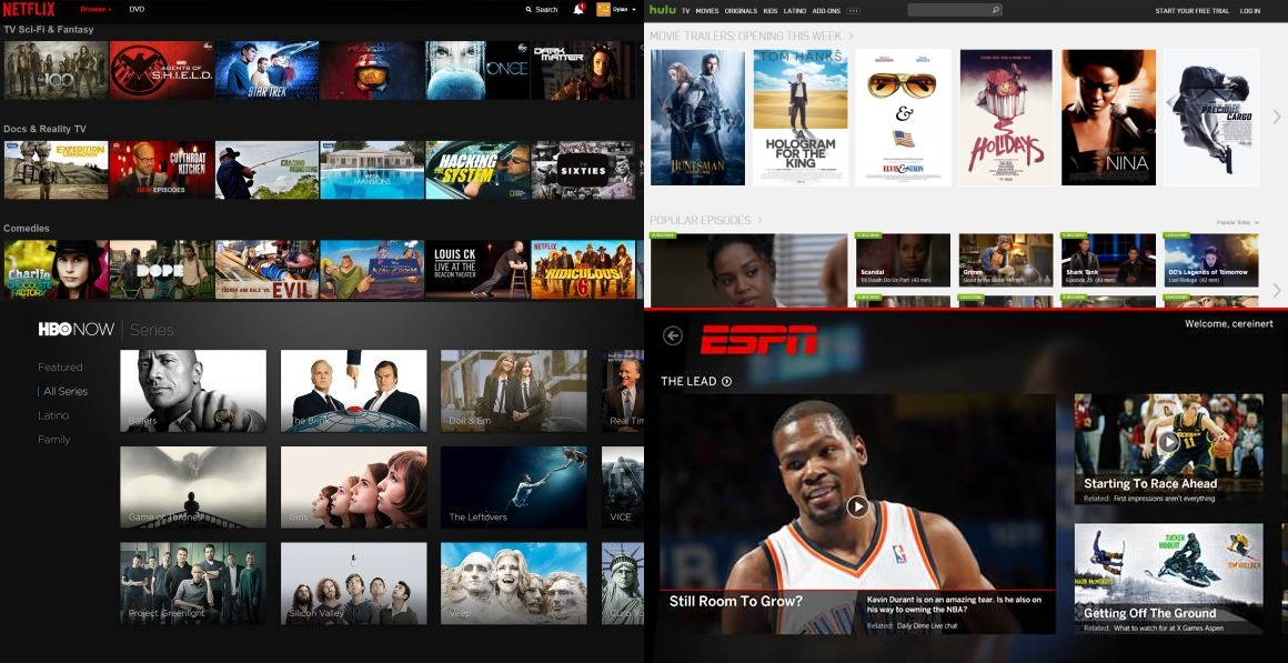 Clockwise from top left: the Netflix and Hulu web apps, ESPN Windows 8 app, and HBO Now Apple TV app.