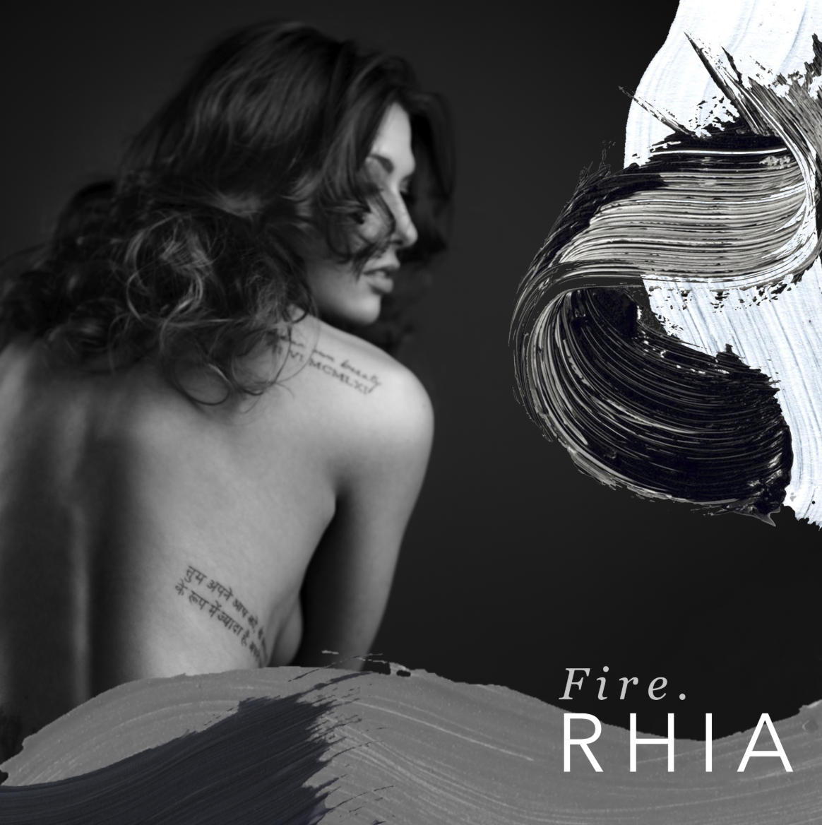 "Rhia, ""FIRE."" single artwork"