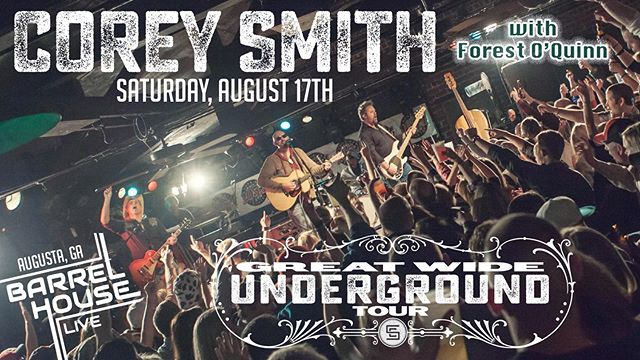 LOW TICKET WARNING! We couldn't be more ready for @coreysmithmusic w/ Augusta native @forestcoquinn opening...get your tickets if you don't have them already!! Link in our bio! bit.ly/CoreySmithCSRA