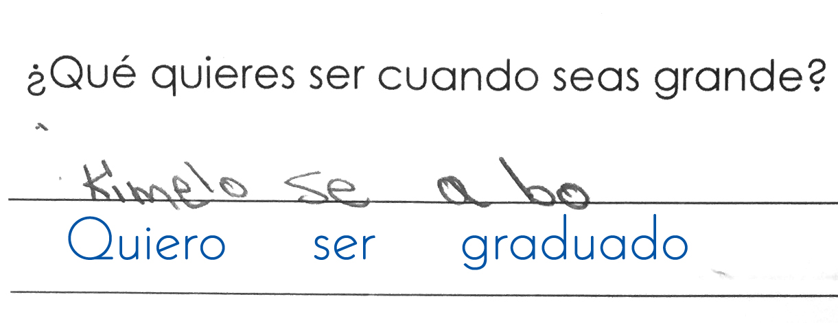 """January 2016: Ángelo's written response in his initial assessment, answering the question, """"What do you want to be when you grow up?"""""""
