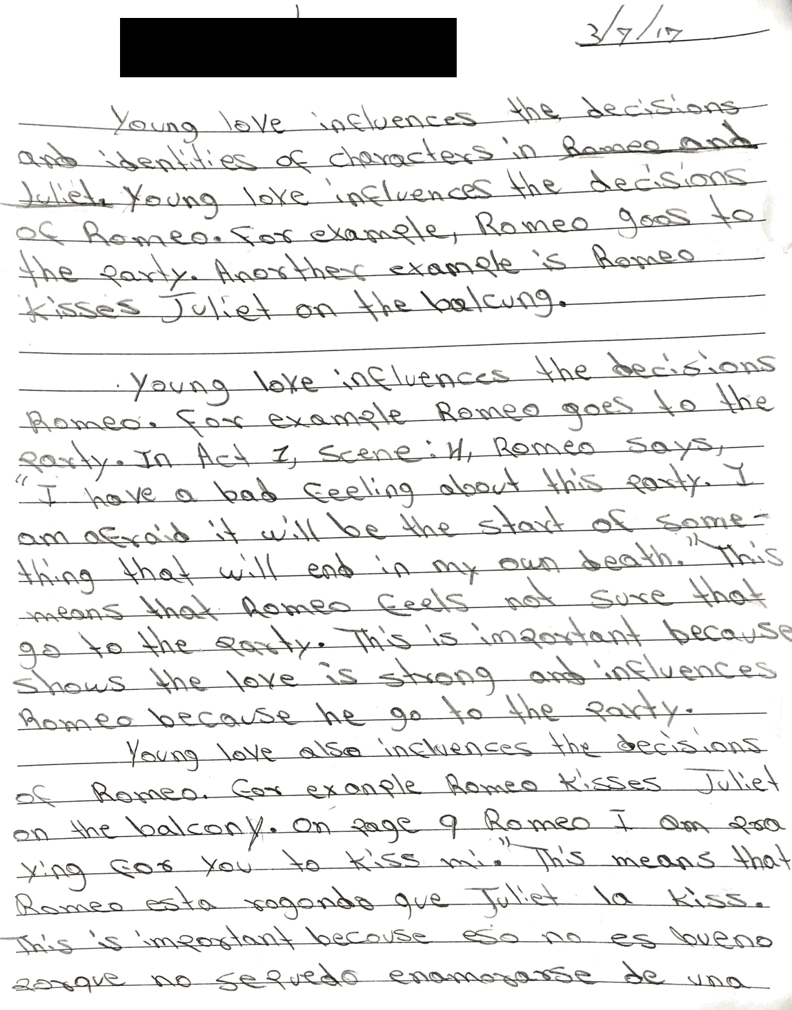 March 2017: The first page of Ángelo's Romeo and Juliet essay for his English class