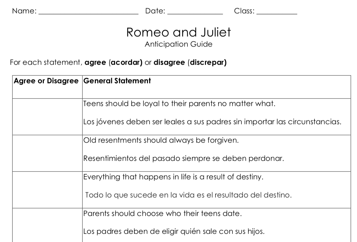 Anticipation Guide Version 1 in English and Spanish