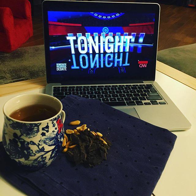 Snacks + couch + Dem debate = ideal date night.  #timeforchange #demdebate #rockthevote