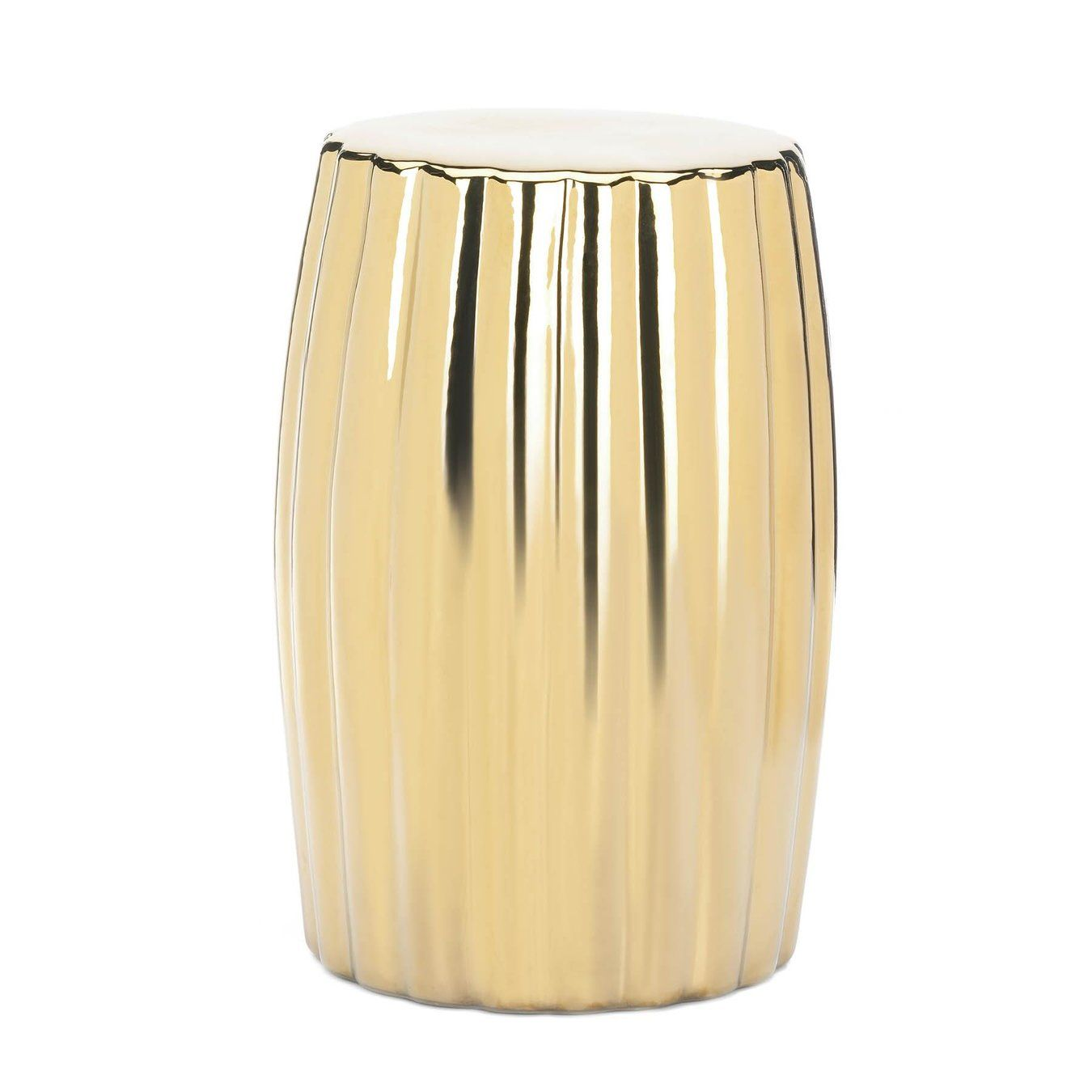 Gold Decorative Stool  - Add a hint of shine to your decor with this gold decorative stool. Made from durable ceramic material, this gold stool can be displayed on its own or used as a modern plant stand. The sleek gold finish and smooth surface will add a bold contemporary look to your living room, office or bedroom space.