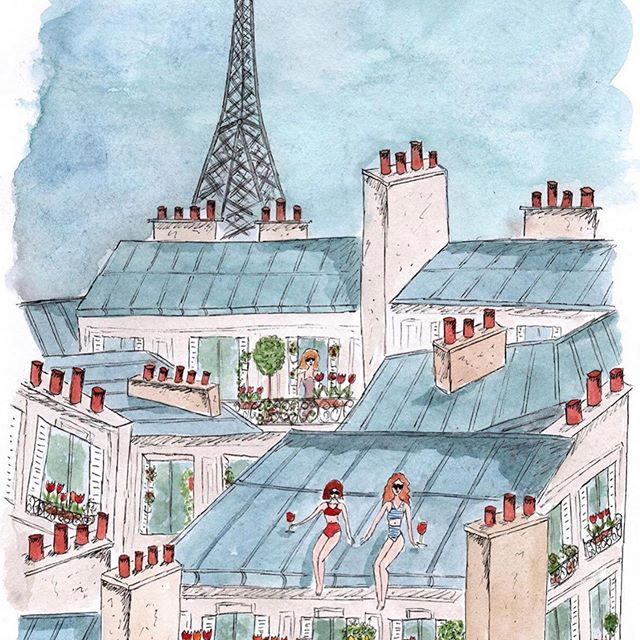 . A real #parisianstyle ✨ . Thank you the French illustrator @camillewitt_illustration 's nice work !🌹 . . #lavieparisienne #daisycodeca #paris #parislifestyle #illustration #daisycodetraveling #streetphoto