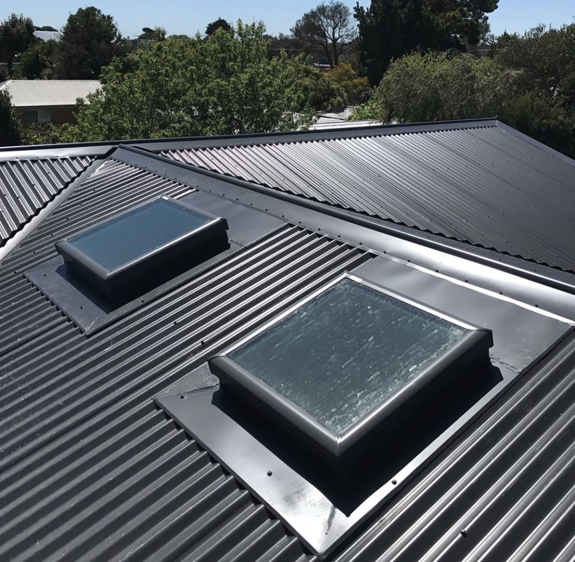 COLORBOND® Monument Corrugated Iron with Velux Skylights