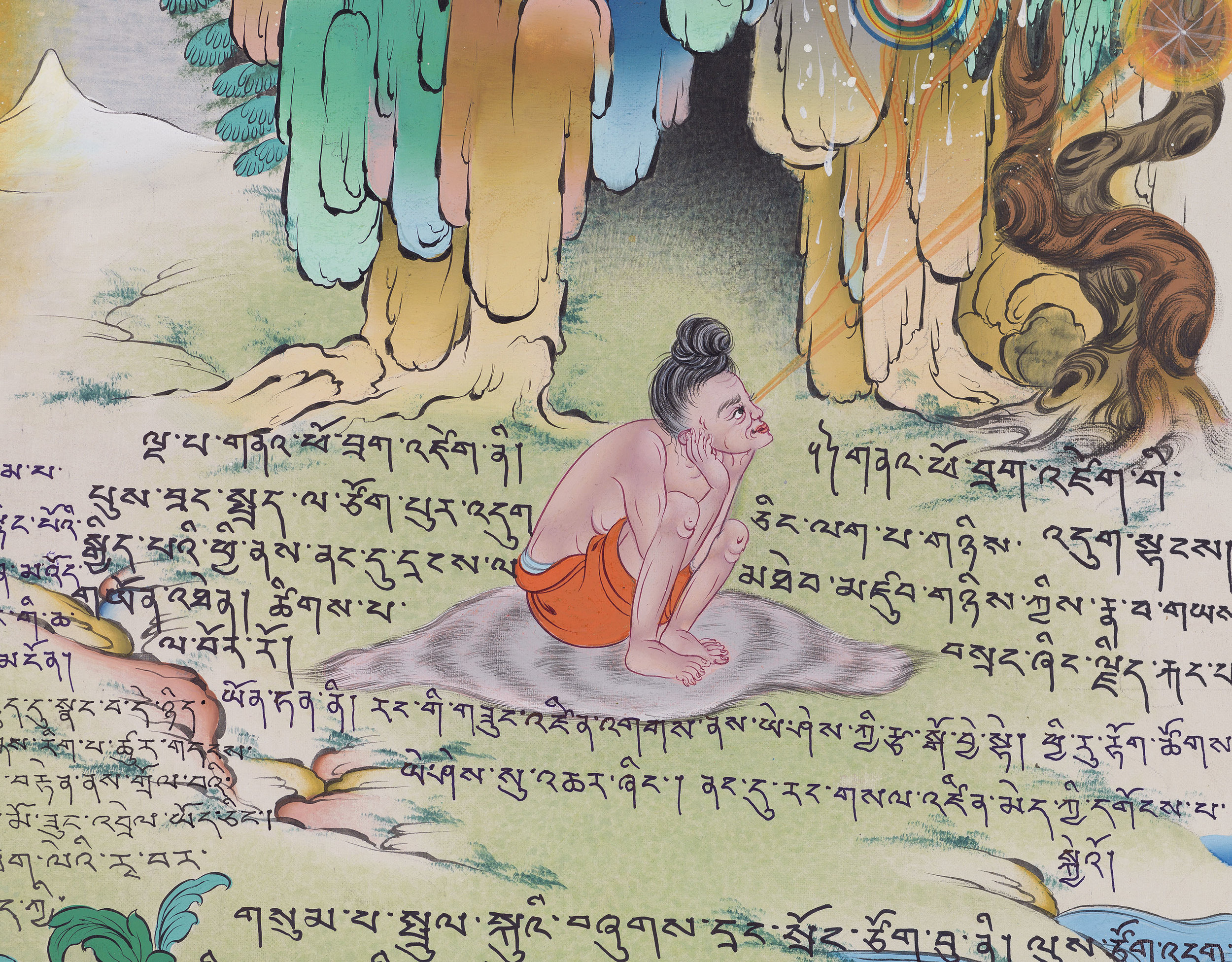 """""""The Wild Sheep Climbing the Crag,"""" a yogic posture that is especially beneficial for arresting dualistic thought and opening the channel of transcendent primordial wisdom. (p.171)"""