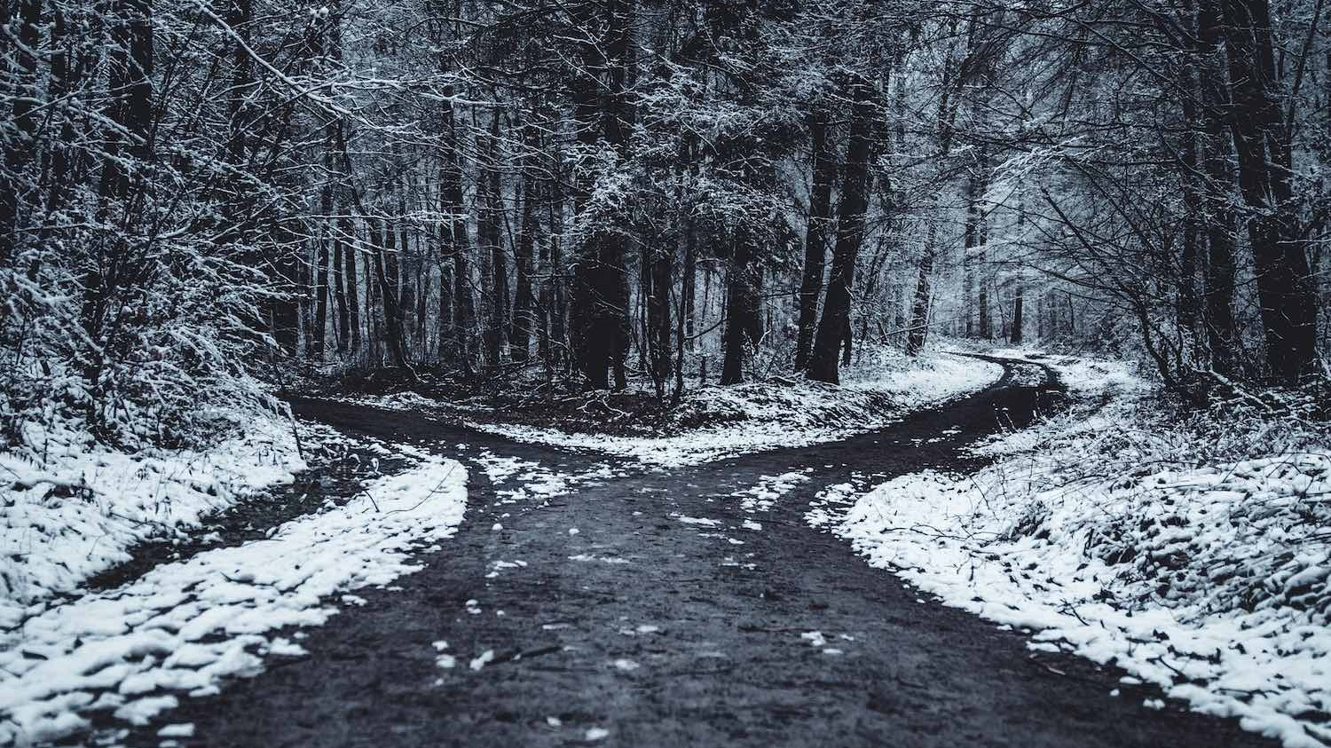 A fork in the road in a snowy landscape