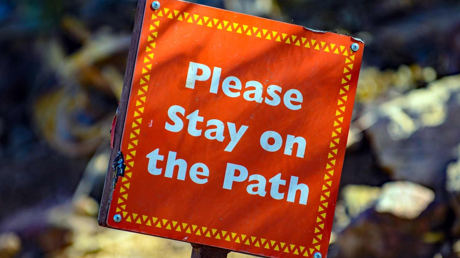 """A sign that reads, """"Stay on the Path"""""""