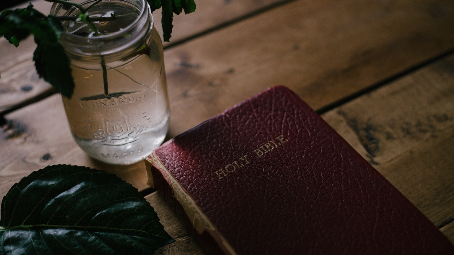 A maroon Bible on a wooden table with a plant inside of a mason jar