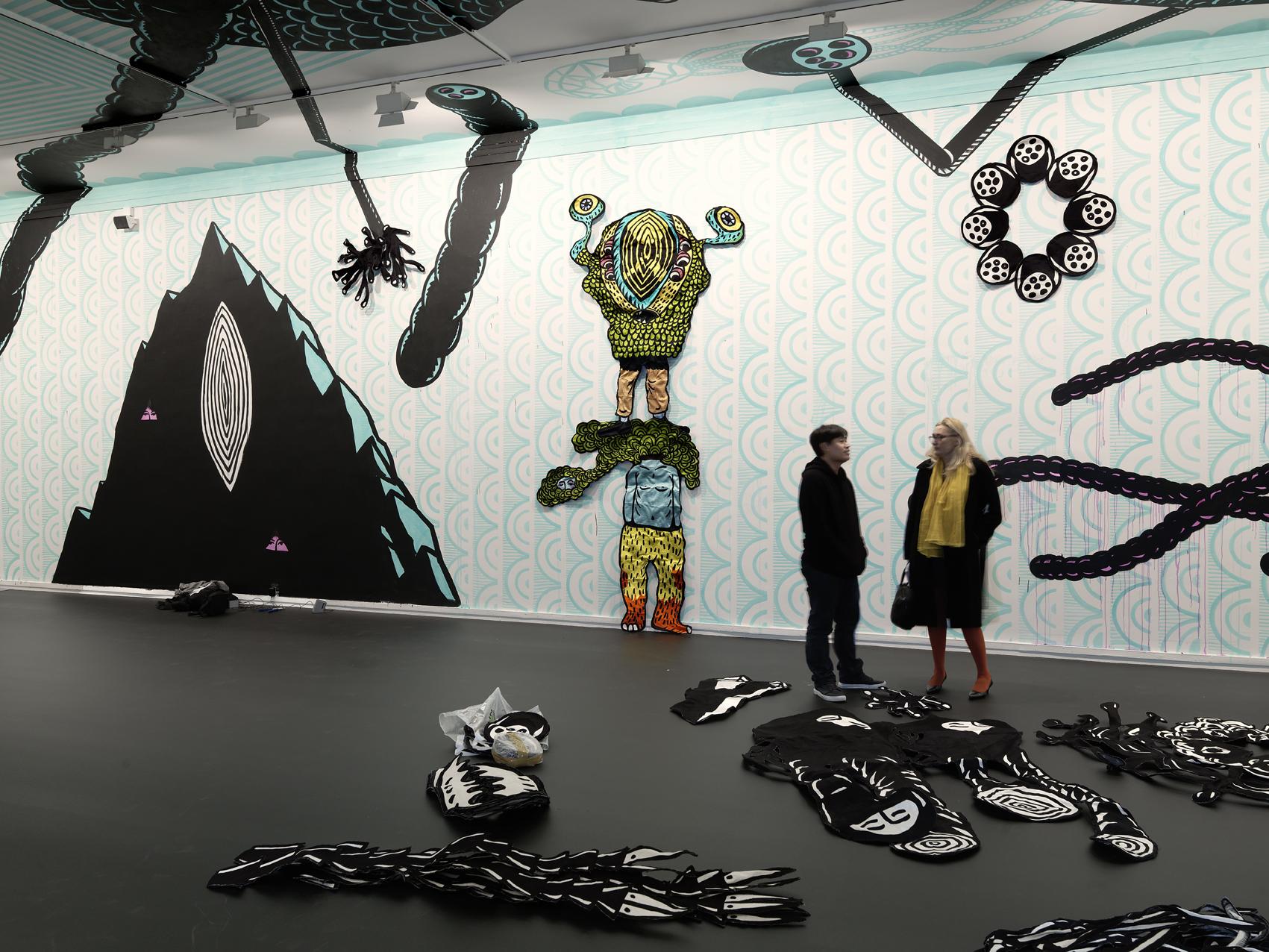 "Eko Nugroho's exhibition ""Témoin hybride"". MAM, Paris."