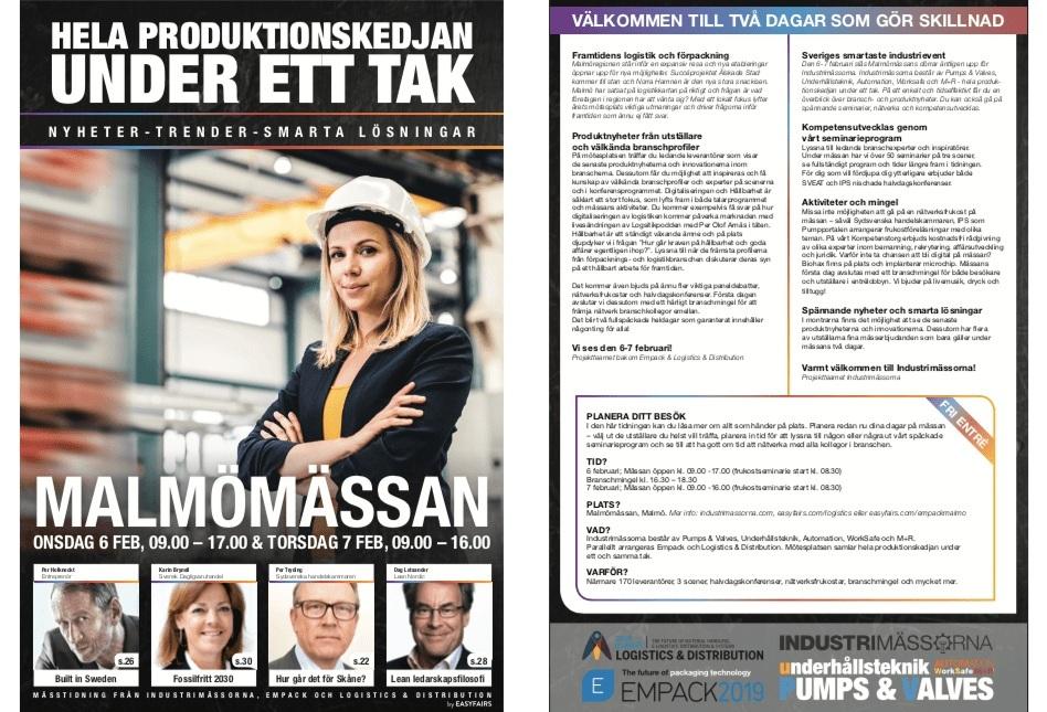 Mässtidning för Easyfairs - Industrimässorna, Empack, Logistics & Distribution