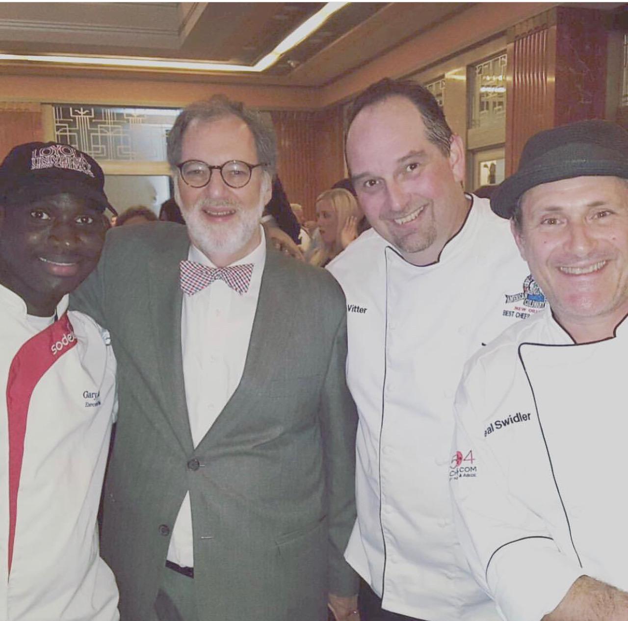 Tom Fitzmorris, Chef Drue Vitter, and Chef Neil Swidler