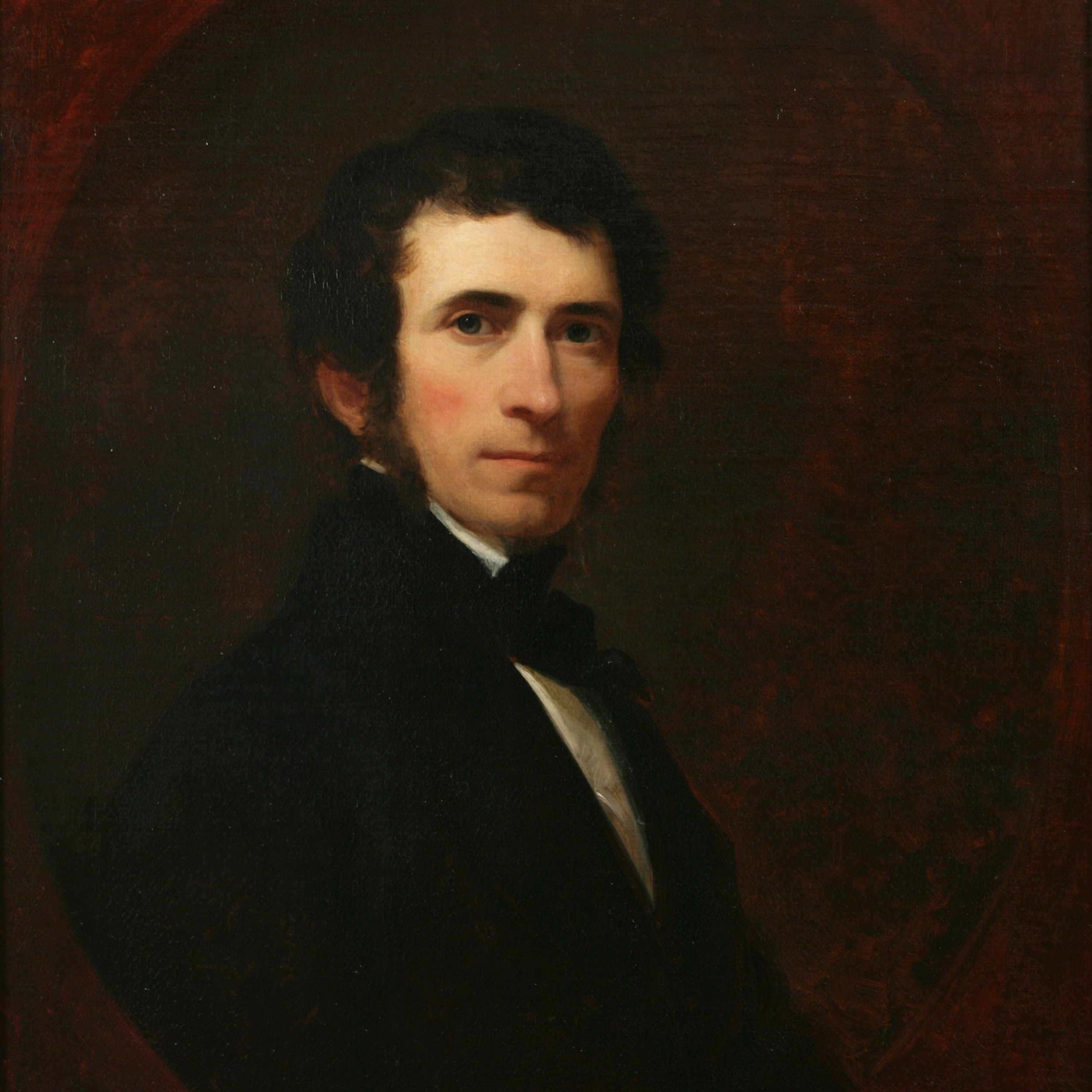 Asher B. Durand (1796-1886)   American engraver, portraitist, and Hudson River School landscape painter who, along with John Trumbull, bought one of Cole's paintings in 1825. Durand, Cole, and poet William Cullen Bryant maintained a close friendship throughout their lives, joined by their mutual involvement in American arts and culture. Durand helped to found the National Academy of Design, acting as its president from 1845-61. It was Cole who first persuaded Durand to begin landscape painting and taught him how to sketch outdoors, and together the two artists took many summer sketching trips to the Catskill, White, and Adirondack mountains. Durand painted Kindred Spirits (1849) after Cole's death, forever memorializing the friendship of the three men. See John Trumbull, Asher B. Durand and Asher B. Durand.  Visit the places that Durand painted on the Art Trail:      Platte Clove       Kaaterskill Clove    Painting: Asher Brown Durand,  Self-portait , 1835, oil on canvas, 30.1 x 25.2 in., gift of Asher B. Durand 1852, National Academy of Design.