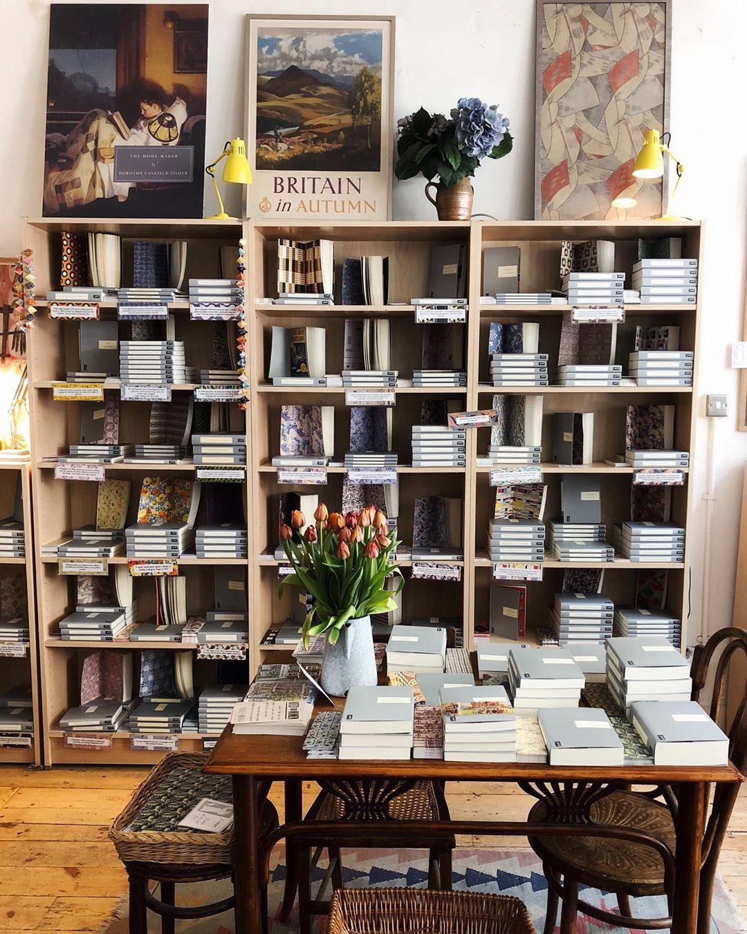 Bookshelves in Persephone Books, London