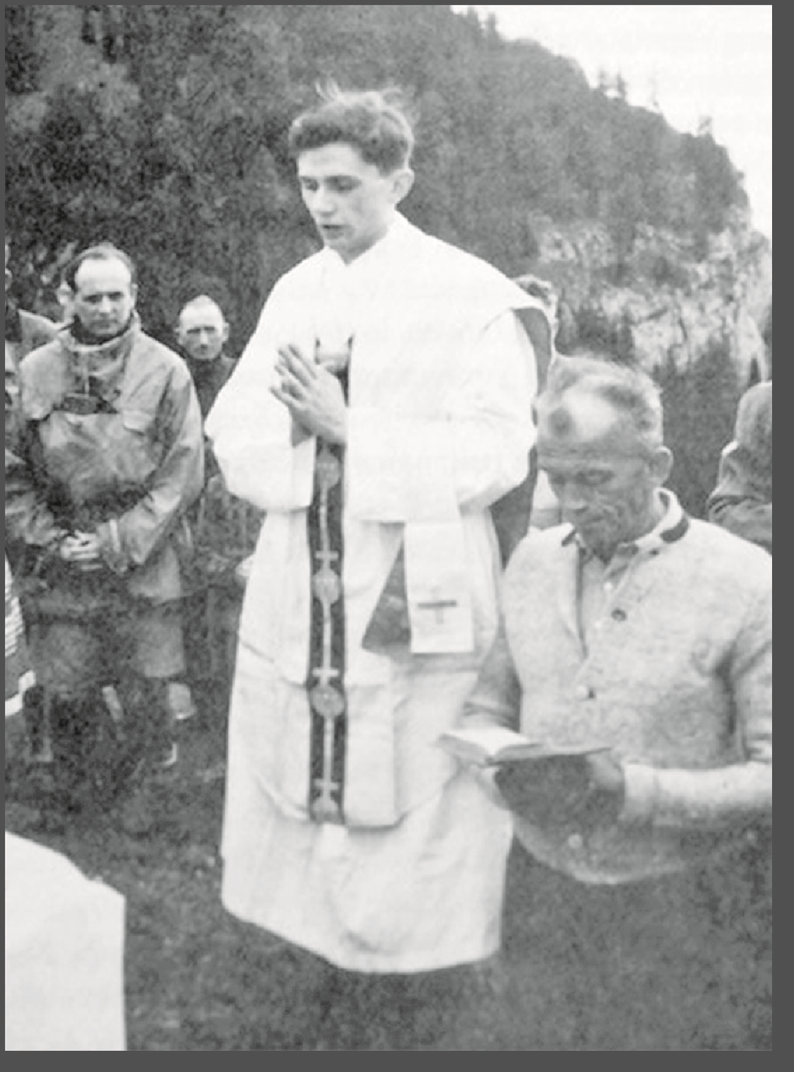 Rev. Joseph Ratzinger at a Mountain Site Near the Bavarian Town of Ruhpolding, Germany, 1952