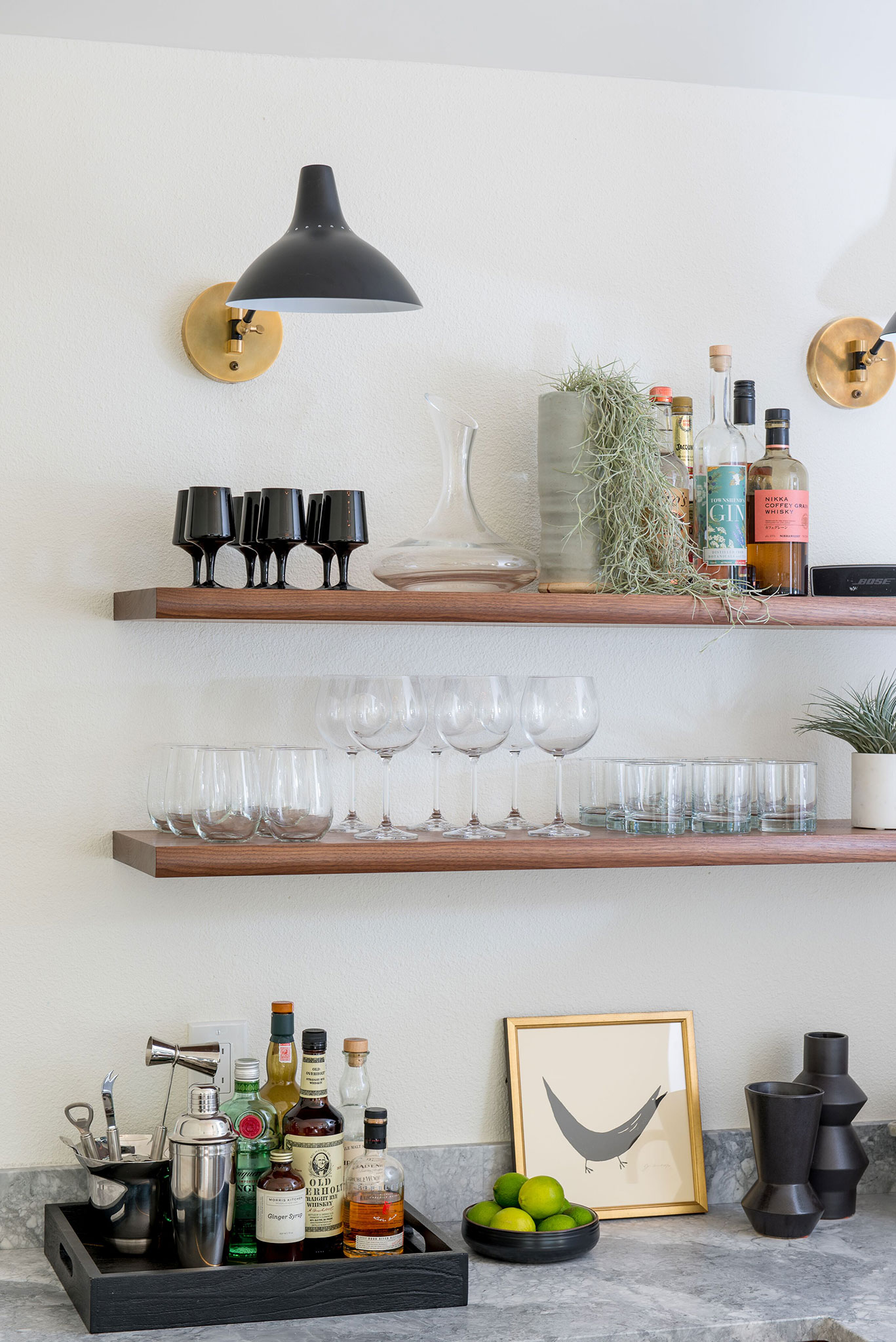 Northwest Hideaway | Amanda Steiner Design | Bar Detail Walnut Floating Shelves