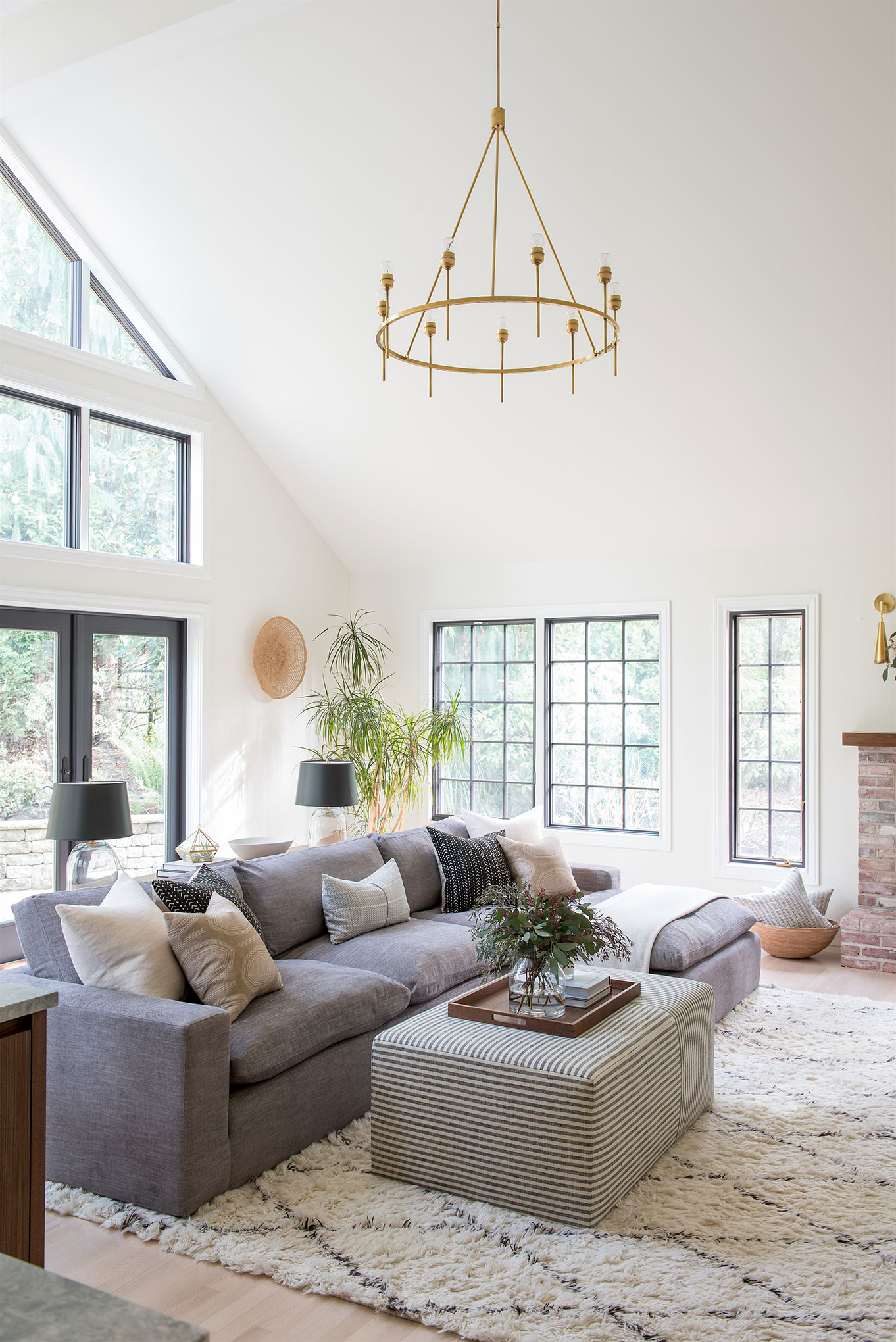 Northwest Hideaway | Amanda Steiner Design | Living Room with Chandelier