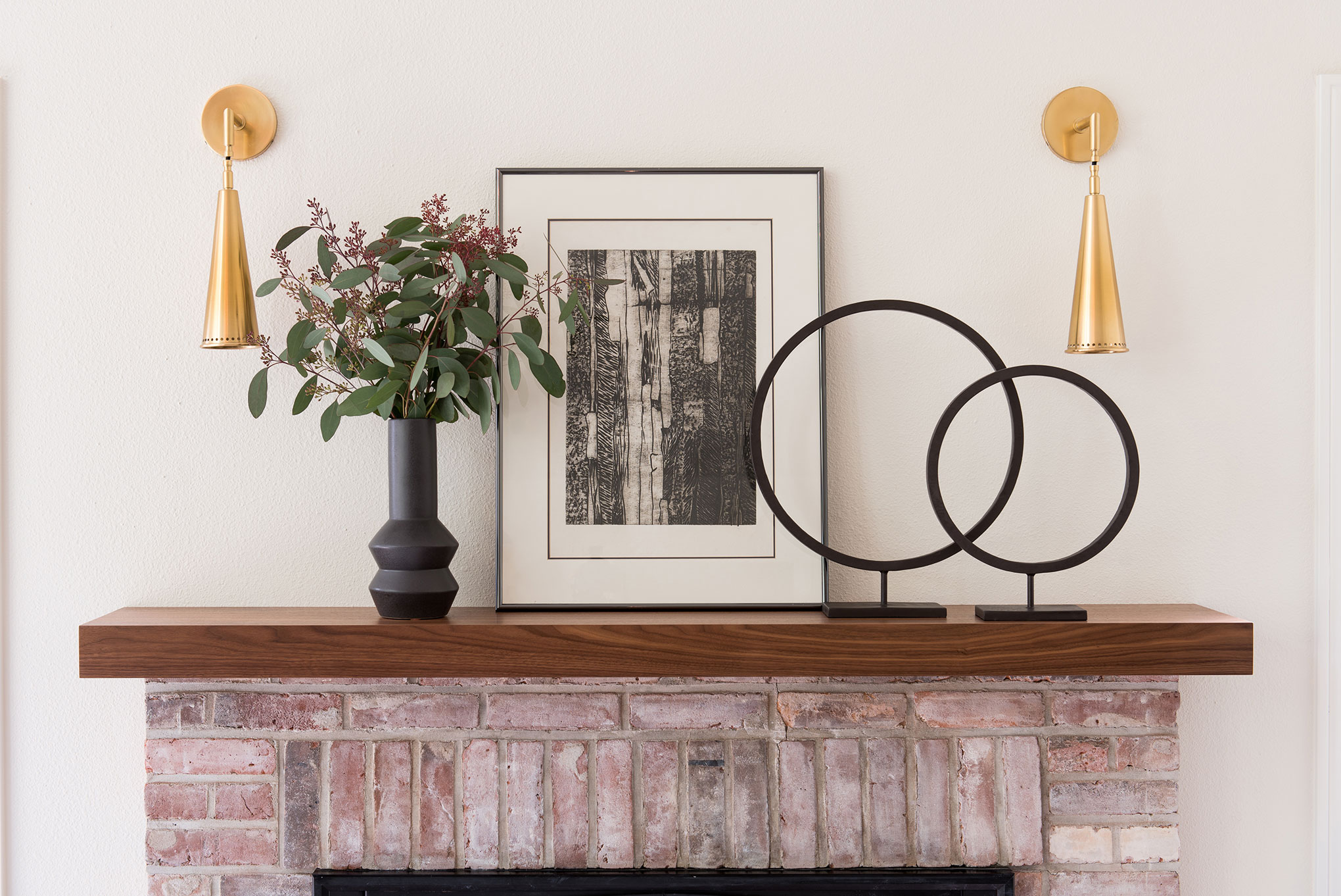 Northwest Hideaway | Amanda Steiner Design | Mantle Detail with Vintage Etching
