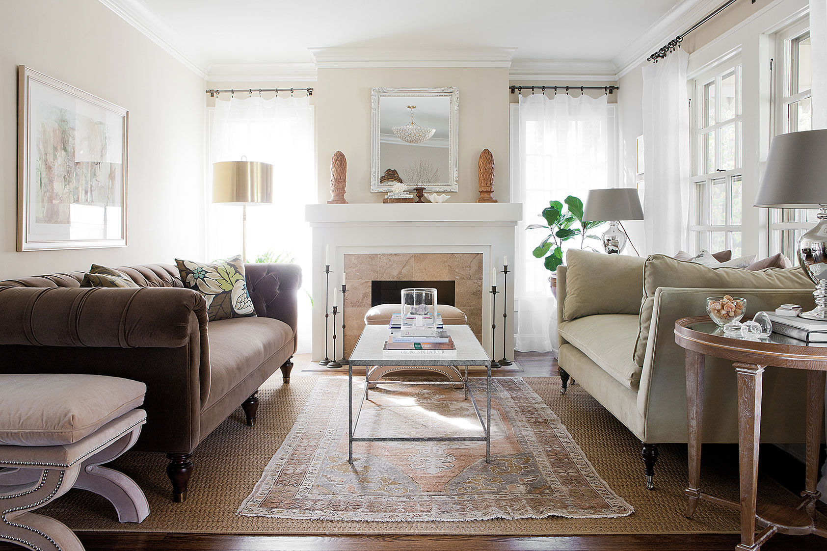 Westwood Hills Bungalow | Amanda Steiner Design | Living Room with Hearth